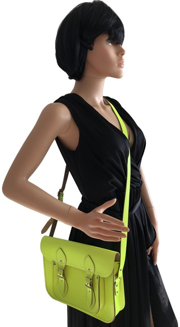 Item - Buckle Neon Yellow Cowhide Leather Messenger Bag