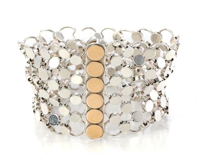 Item - 18k Gold and Silver Two Tone Dote Chain Mail Link Bracelet
