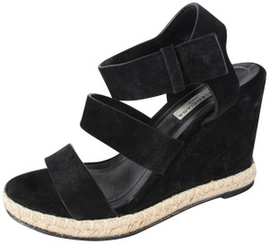Balenciaga Wedge Suede Strappy Black Sandals