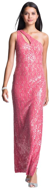 Item - Pink Sequined One Shoulder Gown Long Formal Dress Size 4 (S)