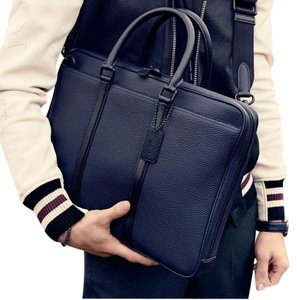 41141d29 Coach Metropolitan Crossbody New Men Two Tone Colorblock Briefcase Business  Navy Leather Laptop Bag