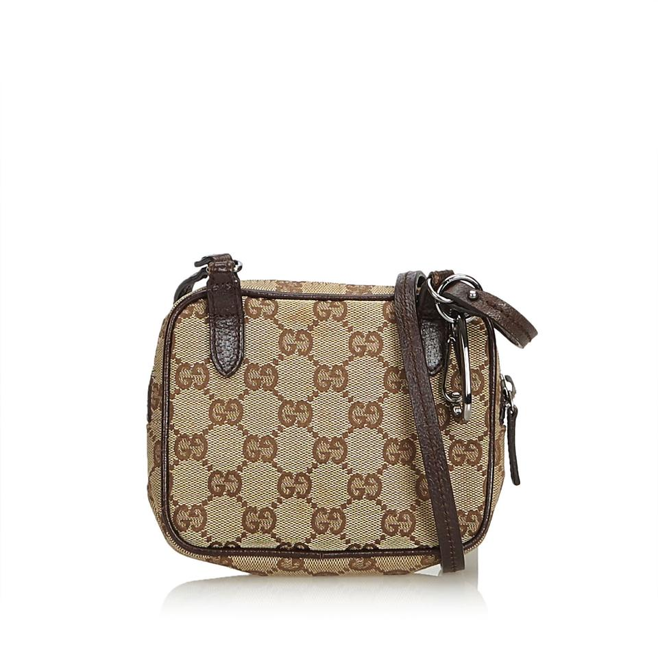 fb981e55c07 Gucci Beige Jacquard Fabric Gg Italy Brown Blend Leather Cross Body ...