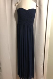 Donna Morgan Midnight/Navy Chiffon Audrey Strapless Gown Traditional Bridesmaid/Mob Dress Size 4 (S)