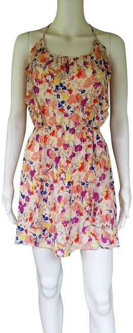 Item - Cream Multi-color. Floral Silk Ruffle Racer Back Small S Short Casual Dress Size 4 (S)