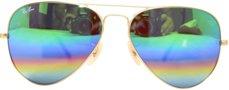 d9896163ef Ray-Ban Gold  Rainbow Green Flash Rb3025 Aviator Large Metal Multicolor 58-14mm  Sunglasses