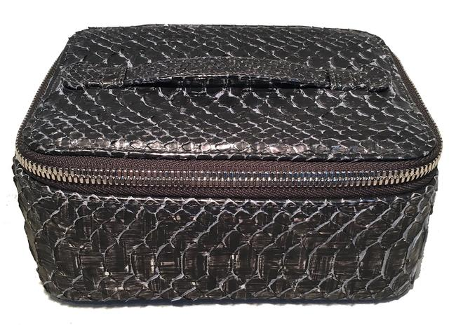 Item - Grey Python Snakeskin Jewelry Travel Pouch Case With Cosmetic Bag