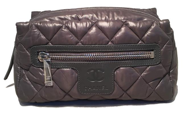 Item - Grey Pouch Quilted Nylon Travel Cosmetic Bag