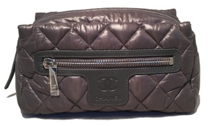 Chanel Chanel Grey Quilted Nylon Travel Accessories Cosmetic Pouch