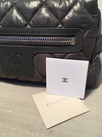 Chanel Chanel Grey Quilted Nylon Travel Accessories Cosmetic Pouch Image 4