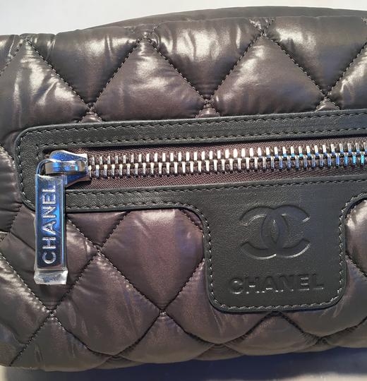 Chanel Chanel Grey Quilted Nylon Travel Accessories Cosmetic Pouch Image 5