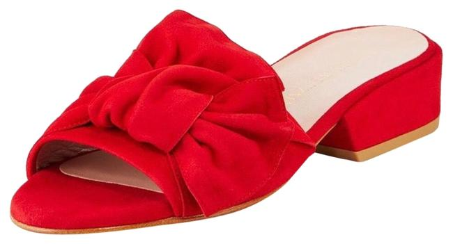 Item - Red Giftwrap Suede Tied Leather Mules/Slides Size US 6 Regular (M, B)