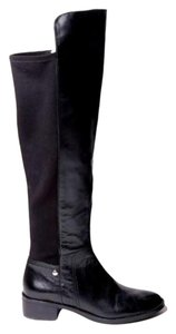 Michael Kors Riding Gold Zipper Knee High Black Boots