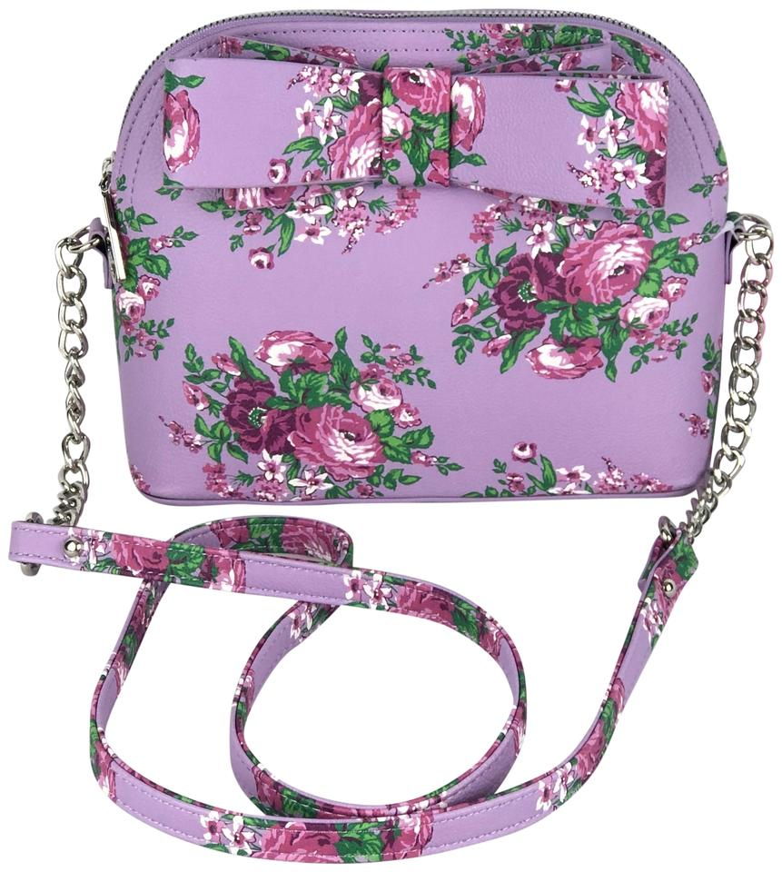 5761b9f23b8e Betsey Johnson Vintage Floral Bow Purple Faux Leather Cross Body Bag 11%  off retail