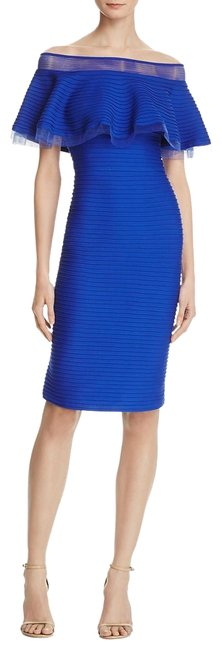 Item - Marna Womens Blue Off-the-shoulder Party M Short Cocktail Dress Size 10 (M)