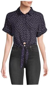 Lucca Button Down Shirt Navy Blue w Pink Polka Dots