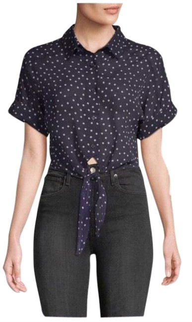 Item - Navy Blue W Pink Polka Dots Tie Front Blouse - Button-down Top Size 4 (S)