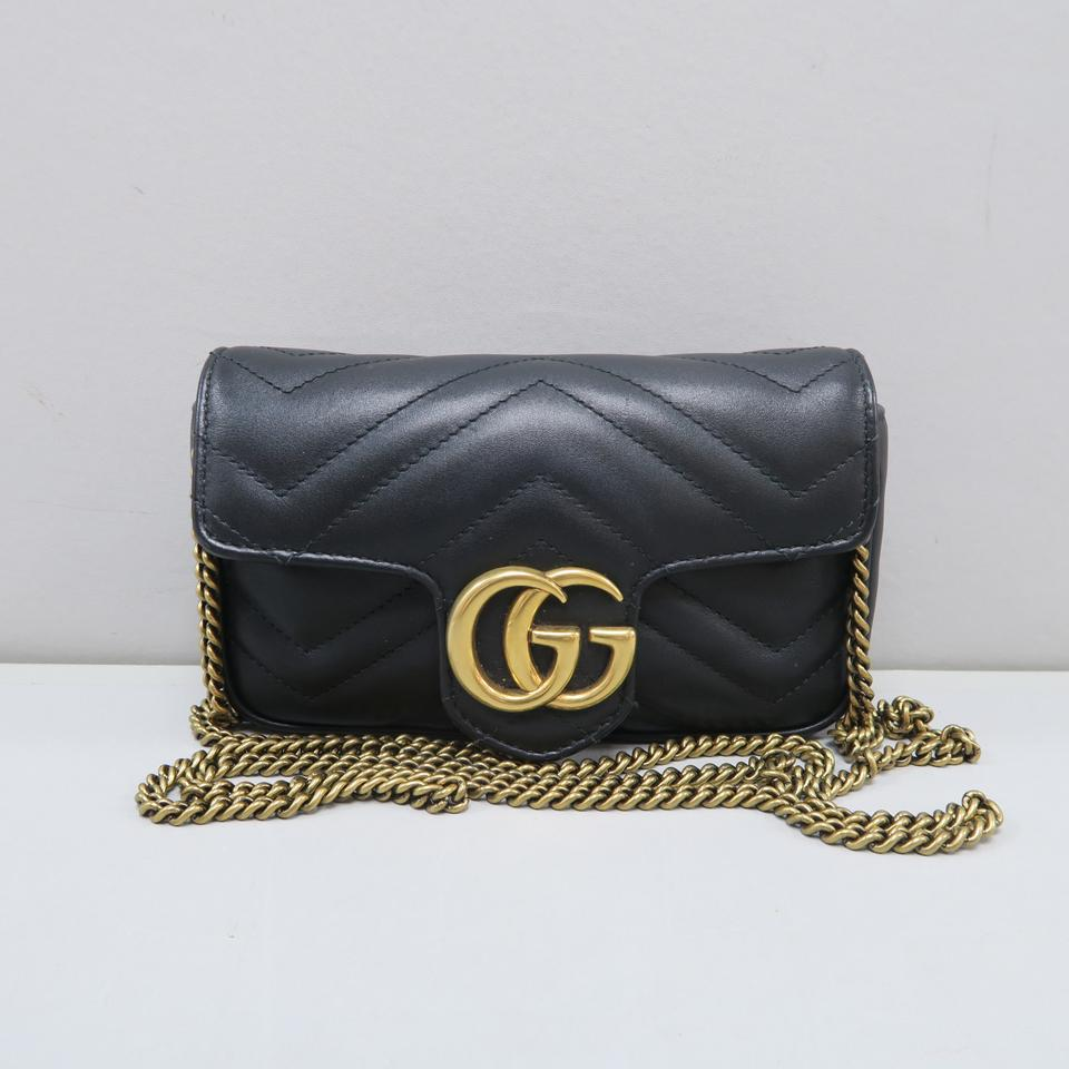 8c65c06f4a0 Gucci Marmont Super Mini Gg Matelassé Black Calfskin Shoulder Bag ...