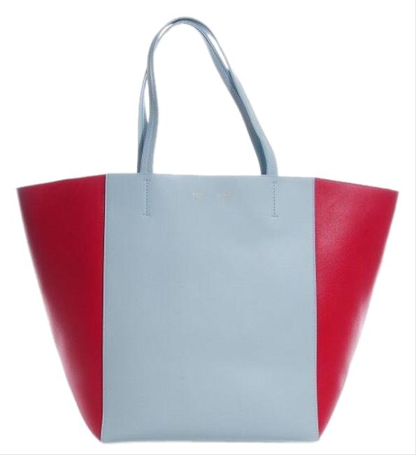 Item - Cabas Phantom Bag Horizontal Medium Cabas Glacier/ Red Lambskin Leather Tote