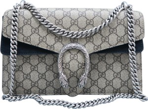 781ce309f Gucci Dionysus Gg Supreme Small Grey Canvas Shoulder Bag - Tradesy