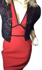 Cache-Cache beautiful beaded 100% silk cropped jacket