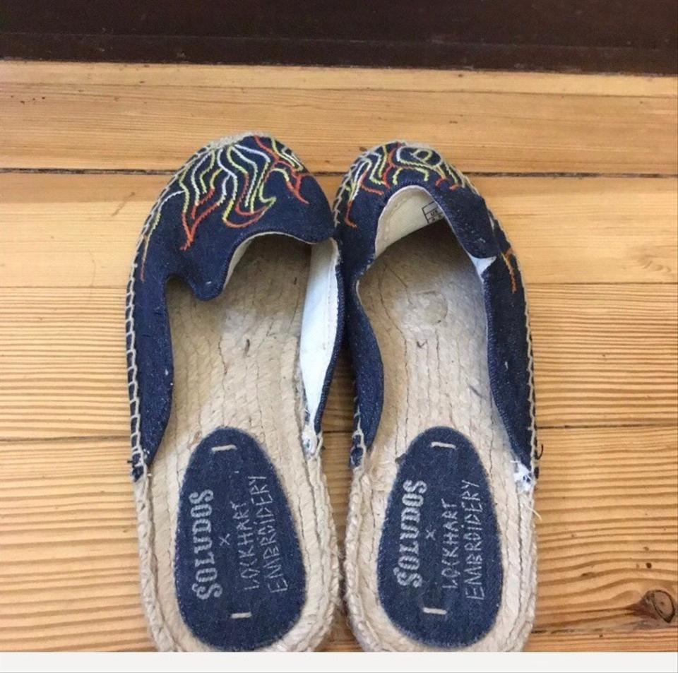1a465aef3 Soludos Blue Lockhart Embroidery Denim Flame Mules Sandals Size US ...