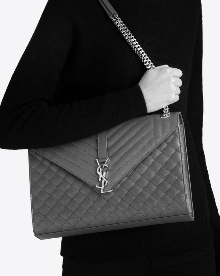 new selection great discount buy cheap Saint Laurent Ysl Large Envelope Classic College Monogram Handbag 396910  Grey Leather Shoulder Bag 16% off retail