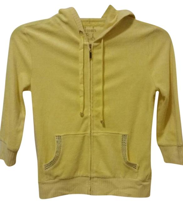 Item - Yellow XS New Vs Terry Embellished Pockets 3/4 Sleeves Hoodie Blouse Size 2 (XS)