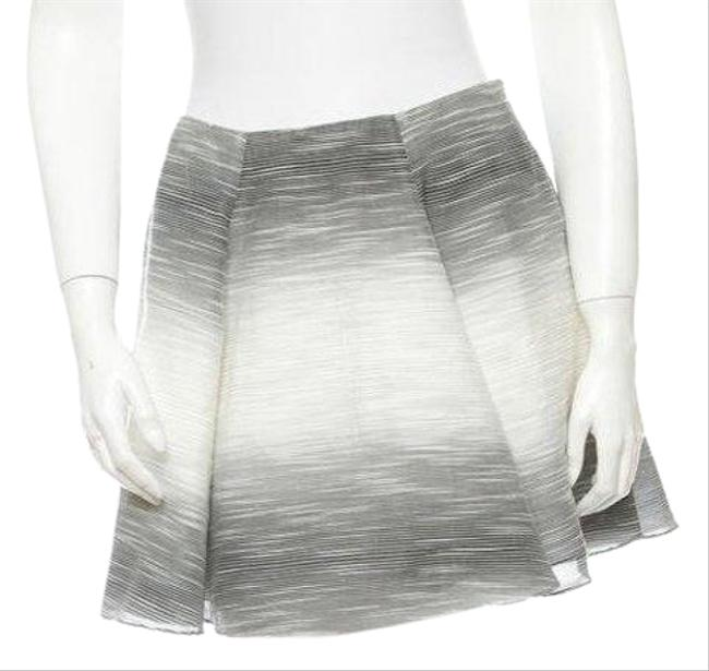 Item - Grey Black White Striped Pleated A-line Skirt Size 6 (S, 28)