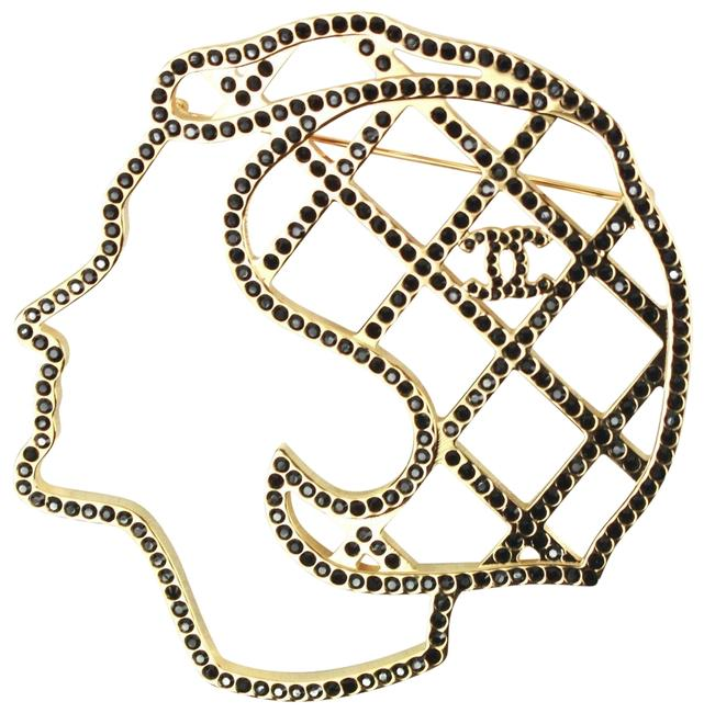 Item - Gold - Black New: 2017 Coco Face Pin Large Brooch Cc Crystal