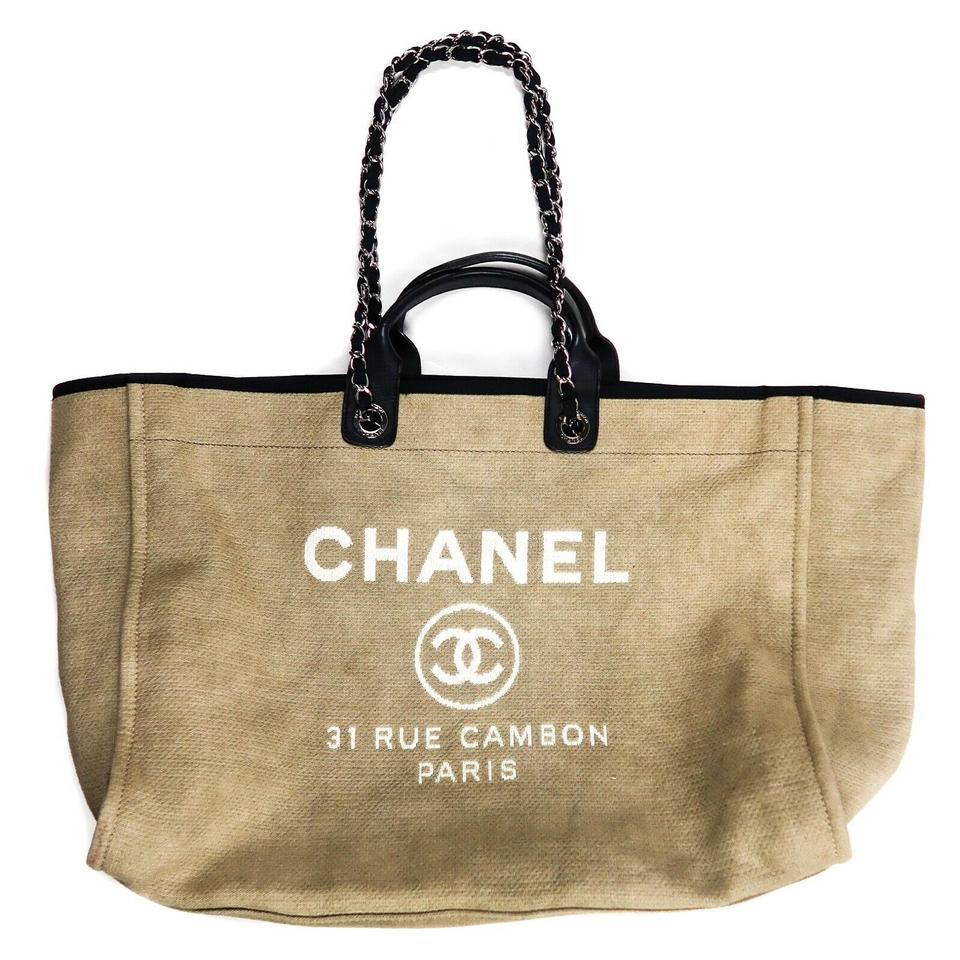 a3e912b5d45e Chanel Deauville Tote XL Leather Cc Extra Large Tan - Blue Canvas Shoulder  Bag - Tradesy