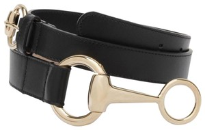 3b67d5e0838 Gucci Women s Black Belt w Round Buckle Horsebit Detail 95 38 295338 1000