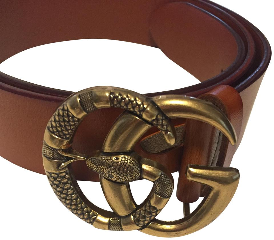 be7357d5c9f Gucci Brown Double Gg Snake 95-38 New Without Tag Belt - Tradesy