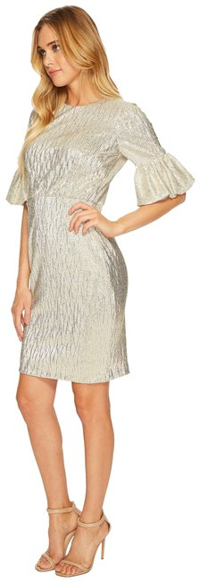 Item - Gold Bubble Sleeve Bodycon In Shimmer Novelty Fabric Mid-length Cocktail Dress Size 2 (XS)