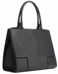 eb00be41262 Tory Burch New Purse Black Leather and Canvas Tote - Tradesy