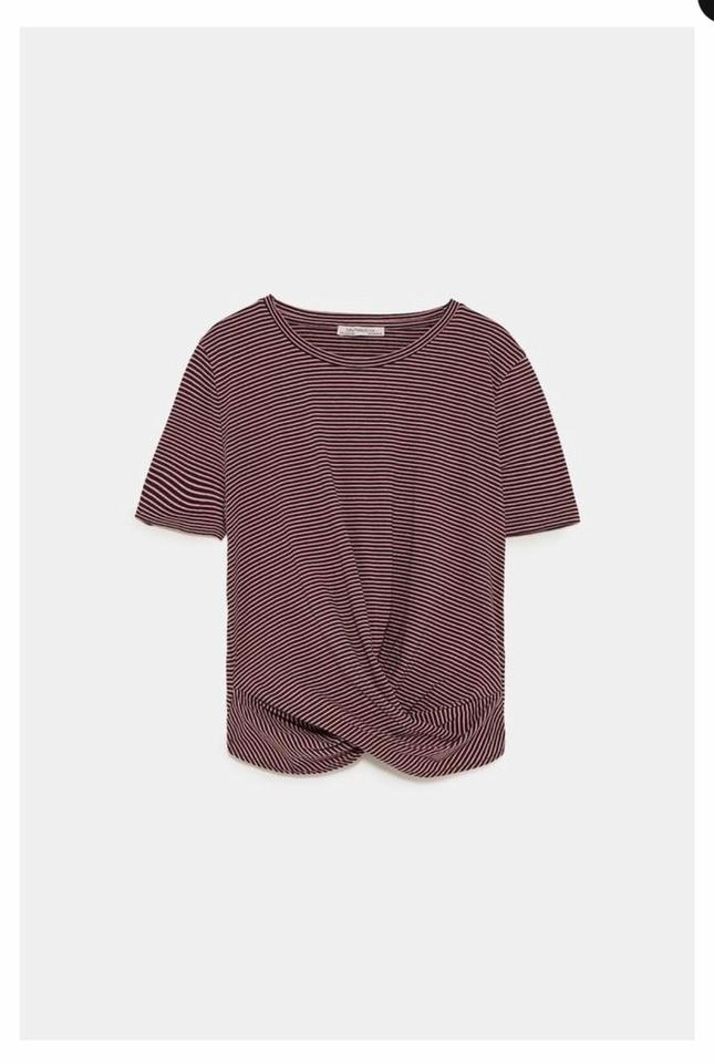 daeaa2c0 Zara Striped T-shirt with Knotted Front Tee Shirt Size 8 (M) - Tradesy