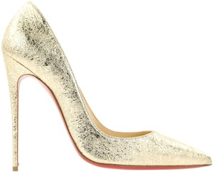 Christian Louboutin Sokate Kate Pigalle Stiletto Leather Gold Pumps
