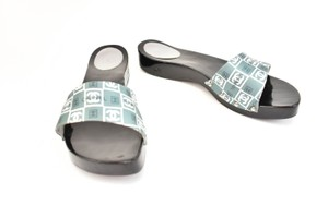 Chanel Cc Logo Satin Slides Gray Sandals