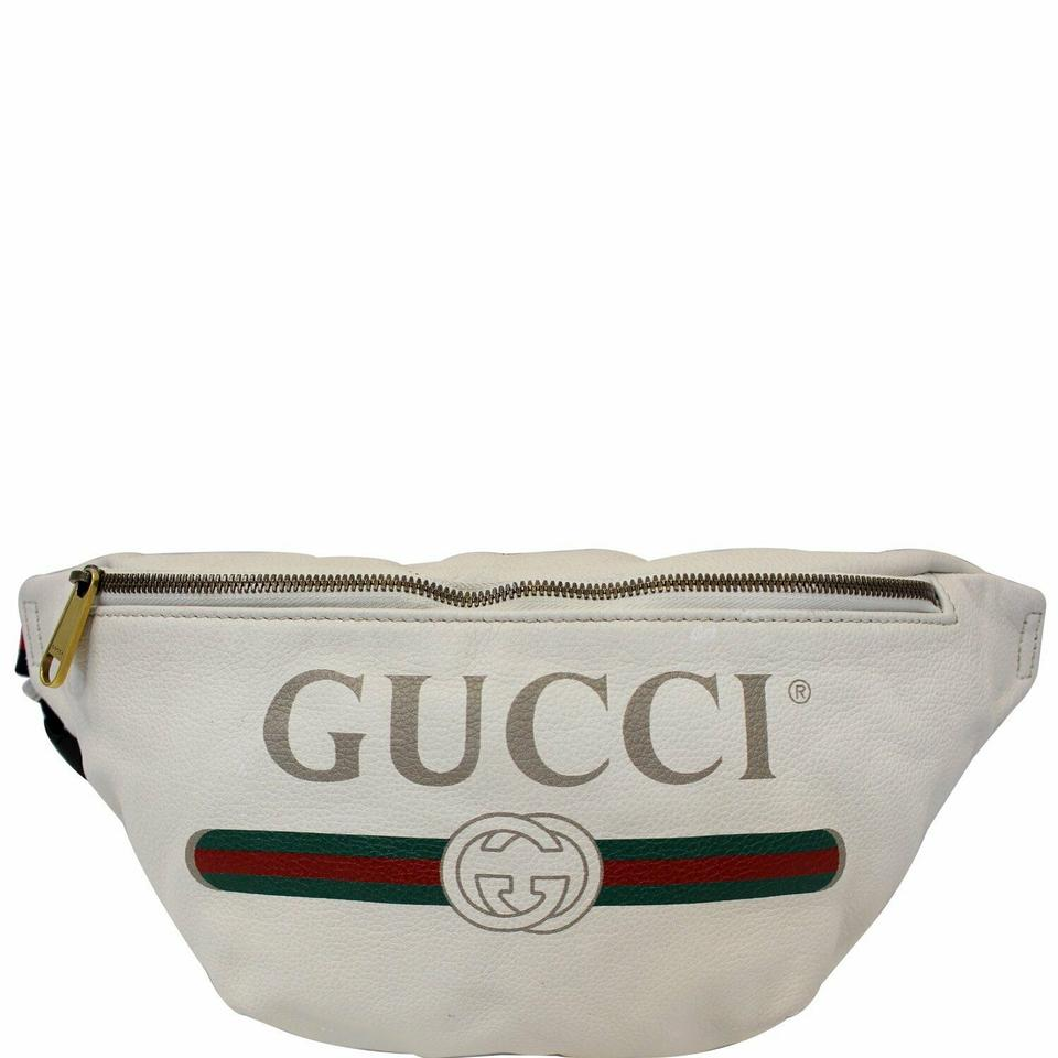 c5b6c062211 Gucci GUCCI Print Leather White Belt Waist Bum Bag Medium 493869 Image 0 ...