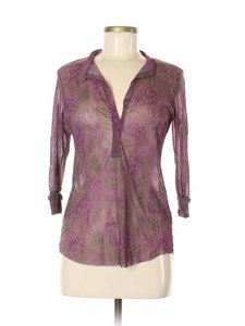 Sweet Pea by Stacy Frati Geometric Mesh Floral Top Purple