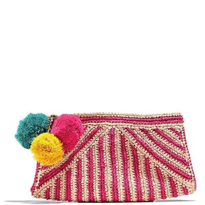 Mar Y Sol Striped Summer Preppy Night Out Party Pink Clutch