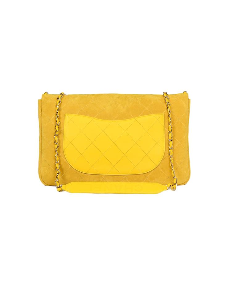 69807304ec7f7e Chanel Classic Flap X Pharrell 2019 Limited Edition Xxl Quilted Yellow  Suede Leather Weekend/Travel Bag - Tradesy
