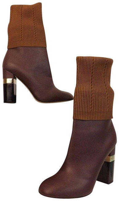 Item - Burgundy Maroon Gold Leather 7.5 7 8 Boots/Booties Size EU 38.5 (Approx. US 8.5) Regular (M, B)