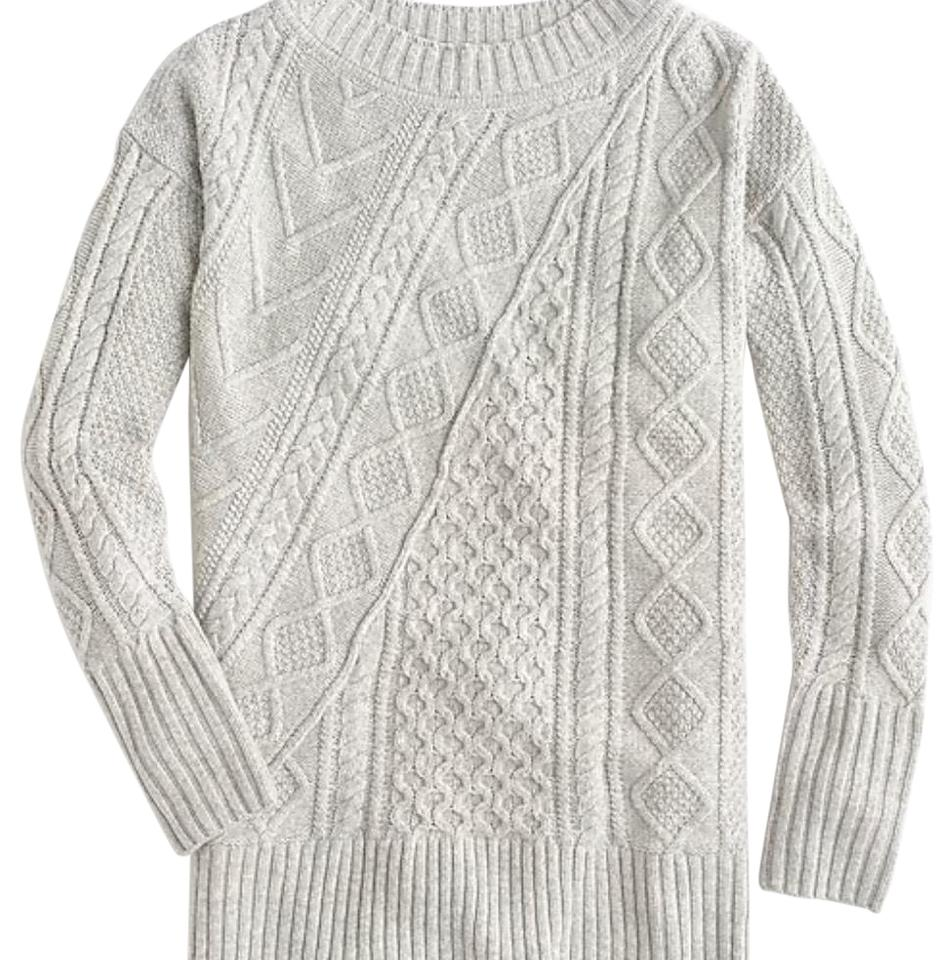 83008b5075bdbd J.Crew Oversized Patchwork Cable-knit Tunic Grey Sweater - Tradesy