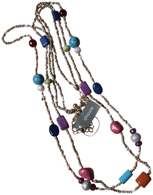 Item - Multi-color Beads Color Blocked Necklace