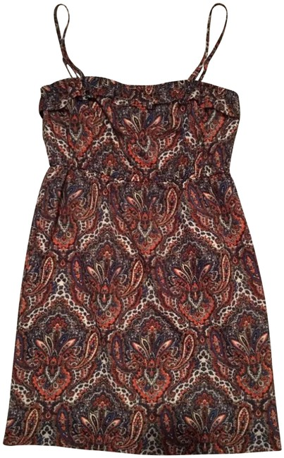 Item - Brown Orange Blue Paisley Spaghetti Strap Short Casual Dress Size 4 (S)
