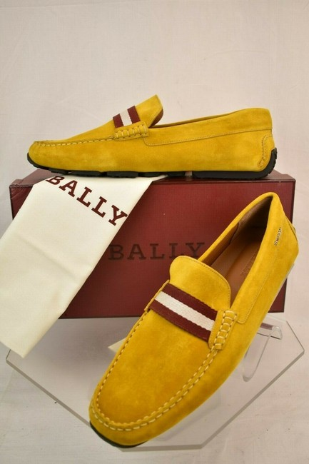 Item - Yellow Pearce Curry Suede Web Lettering Logo Drive Loafers 11 Us 44 Italy Shoes