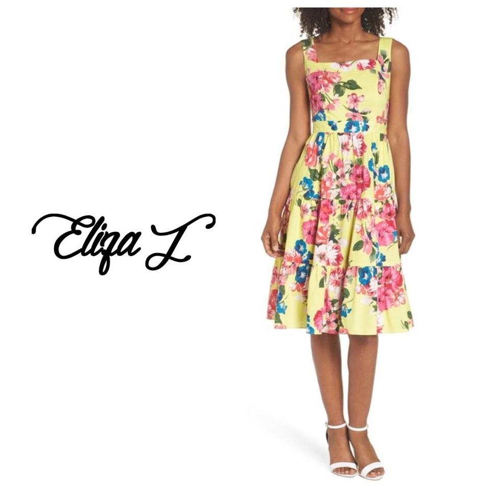 cc35dcef34ba3 Eliza J Yellow Square Neck Floral Tiered Fit & Flare Midi Mid-length Casual  Maxi Dress Size 8 (M) 46% off retail