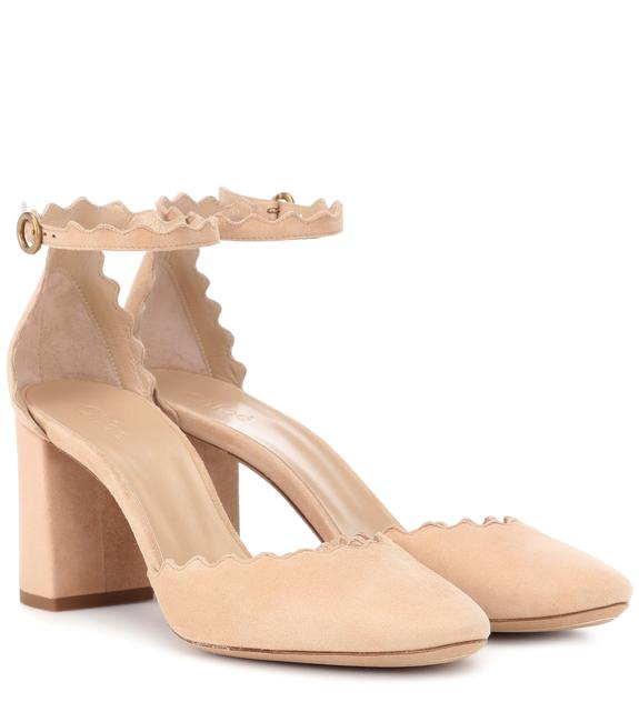 Chloé Reef Shell (Beige) Lauren Scalloped D'orsay Suede Pumps Size EU 38 (Approx. US 8) Regular (M, B) Chloé Reef Shell (Beige) Lauren Scalloped D'orsay Suede Pumps Size EU 38 (Approx. US 8) Regular (M, B) Image 1