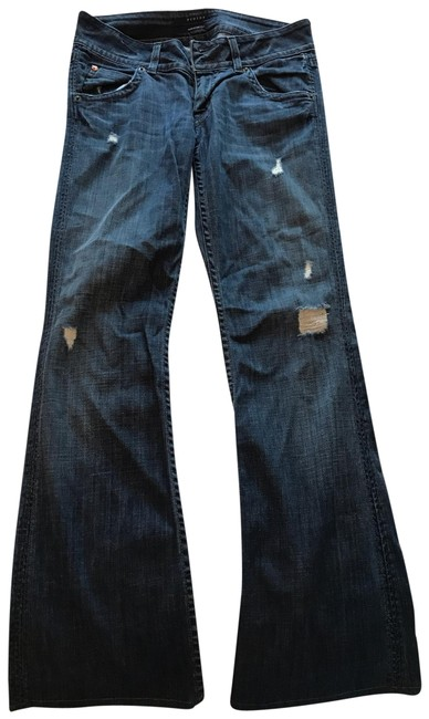 Item - Blue Distressed Flare Leg Jeans Size 4 (S, 27)