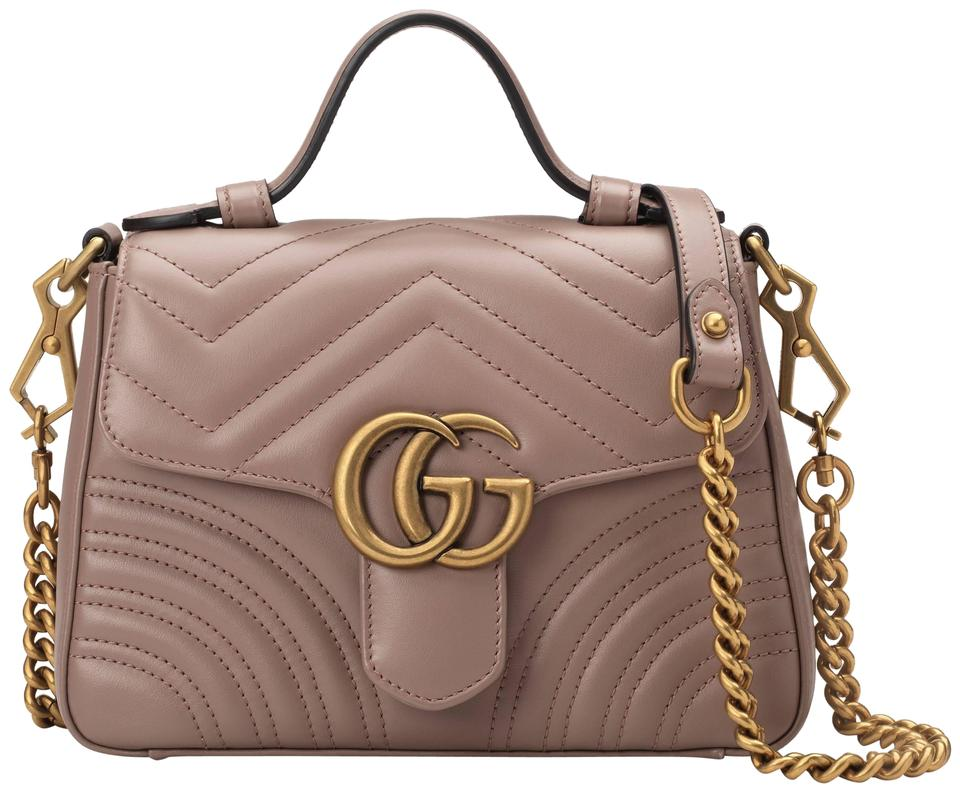 913d1917bb733 Gucci Marmont Gg Mini Top Handle Dusty Pink Shoulder Bag - Tradesy